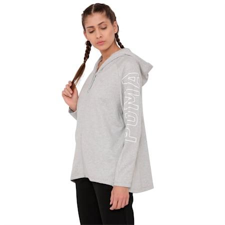 Women's Fusion Full Zip Hoddie, Light Gray Heather, small-IND