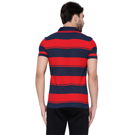 Striped Pique Polo, Barbados Cherry-Peacoat, small-IND