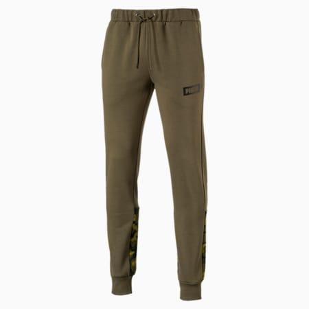 Men's AOP Fleece Pants, Olive Night, small-IND