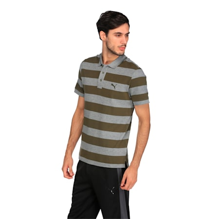 ESS Striped Pique Polo, olive night-MGH, small-IND