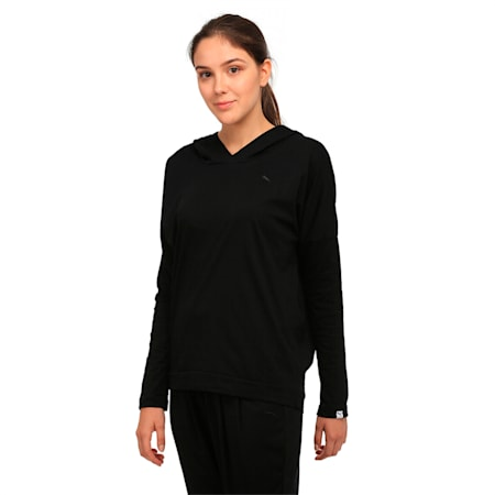 ESS Hooded Cover Up W, Cotton Black, small-IND