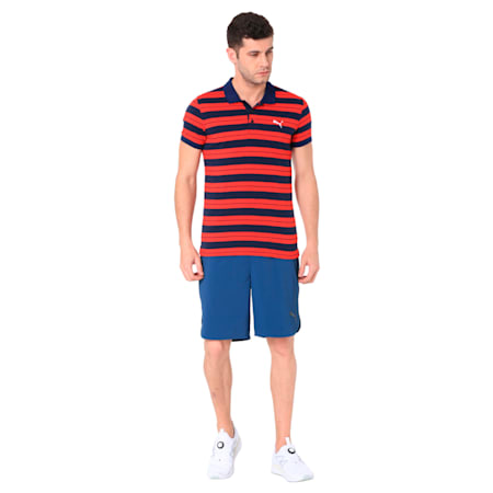 STRIPE JERSEY POLO 1 M, Flame Scarlet, small-IND