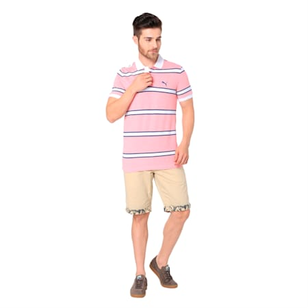 STRIPE PIQUE POLO M, Spiced Coral, small-IND