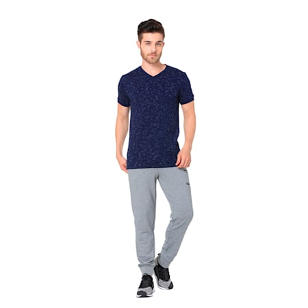 CONTRAST OVERLAY V-NECK TEE M, Peacoat, small-IND