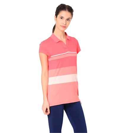 Wns Engineered Stripe Polo, Paradise Pink, small-IND