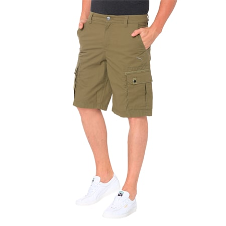 WOVEN CARGO SHORTS, Burnt Olive, small-IND