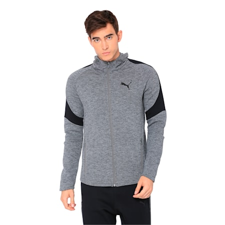 Evostripe Full Zip Men's Hoodie, Medium Gray Heather, small-IND