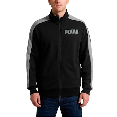 Contrast Men's Track Jacket, Cotton Black, small