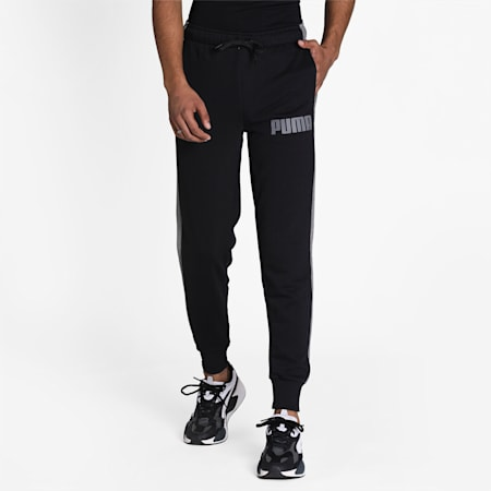 Contrast Cuffed Knitted Men's Sweatpants, Cotton Black, small-IND