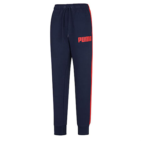 Contrast Cuffed Knitted Men's Sweatpants, Peacoat 01, small-SEA