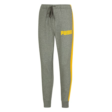Contrast Cuffed Knitted Men's Sweatpants, Medium Gray, small