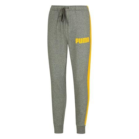 Pantaloni da tuta in maglia con fondo gamba a coste e inserti a contrasto da uomo, Medium Gray Heather, small