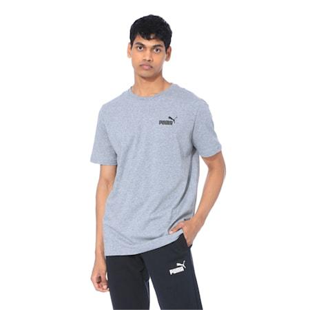 Men's Essentials Small Logo Cotton T-Shirt, Medium Gray Heather, small-IND