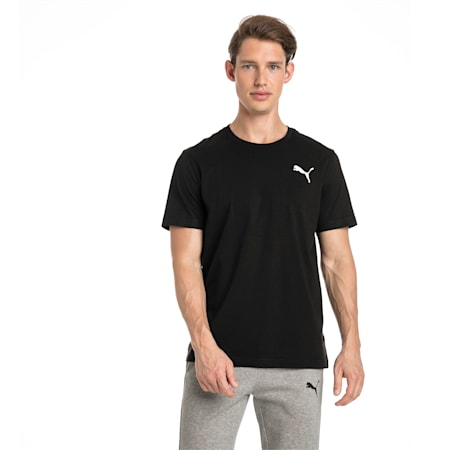 Men's Essentials Small Logo T-Shirt, Cotton Black-_Cat, small