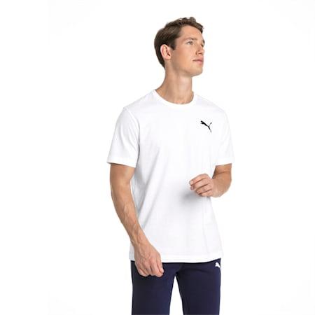 Essentials Small Logo T-shirt voor heren, Puma White-_Cat, small