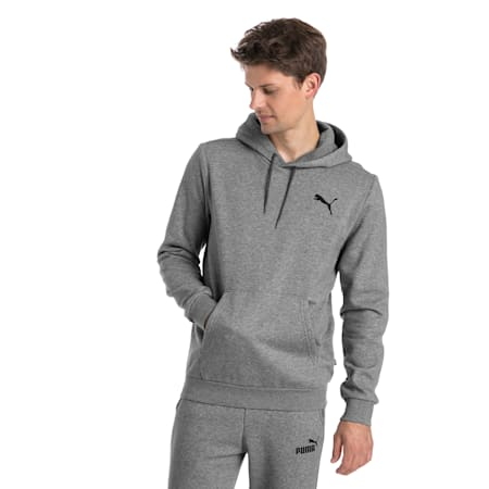 Men's Fleece Hoodie, Medium Gray Heather-Cat, small