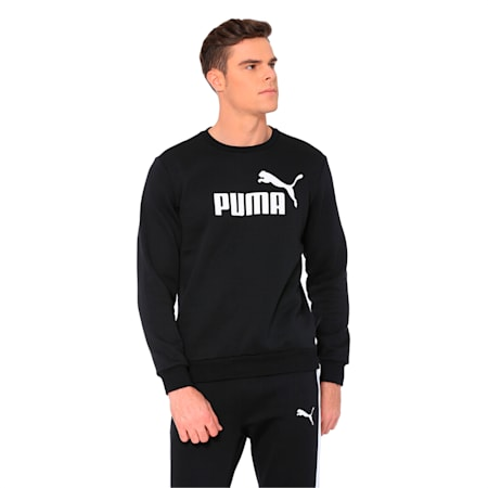 Essentials Fleece Crew Neck Men's Sweater, Puma Black, small-IND