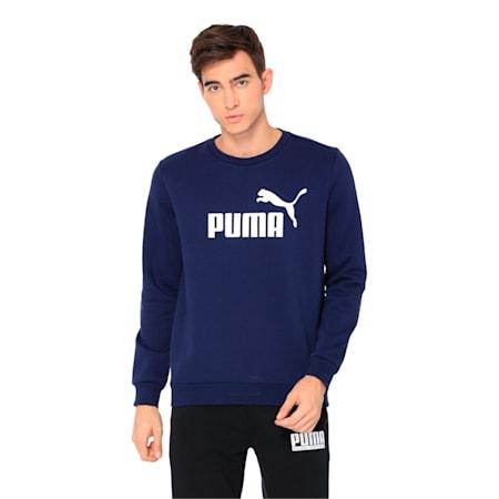 Essentials Fleece Crew Neck Men's Sweater, Peacoat, small-IND