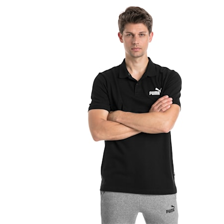 Essential Short Sleeve Men's Polo Shirt, Cotton Black, small-SEA