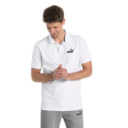Essential Short Sleeve Men's Polo Shirt, Puma White, small-SEA