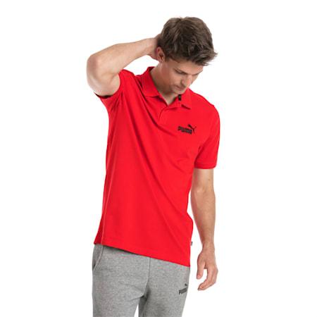 Essential Short Sleeve Men's Polo Shirt, Puma Red, small