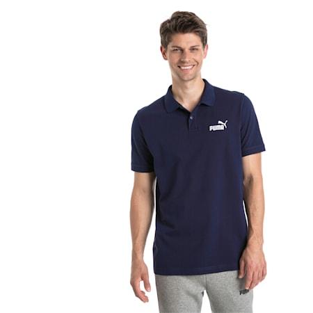 Essential Short Sleeve Men's Polo Shirt, Peacoat, small-SEA