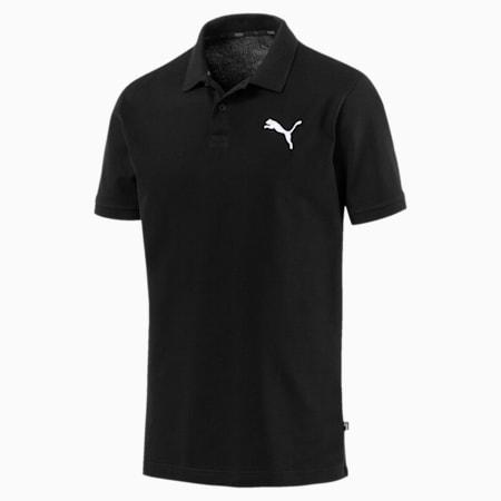 Essential Short Sleeve Men's Polo Shirt, Cotton Black-_Cat, small-SEA