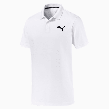 Essential Short Sleeve Men's Polo Shirt, Puma White-_Cat, small-IND