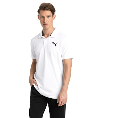 Essential Short Sleeve Men's Polo Shirt, Puma White-_Cat, small