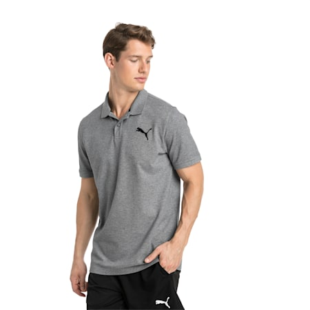 Essential Short Sleeve Men's Polo Shirt, Medium Gray Heather-_Cat, small