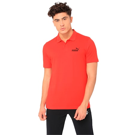 Essentials Men's Jersey Polo, Puma Red, small-IND