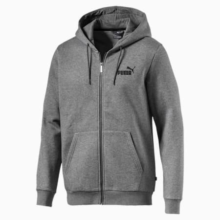 Men's Essentials Full Zip Fleece Hoodie, Medium Gray Heather, small-IND
