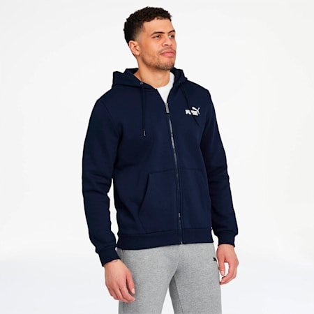 Essentials Men's Hooded Fleece Jacket, Peacoat, small