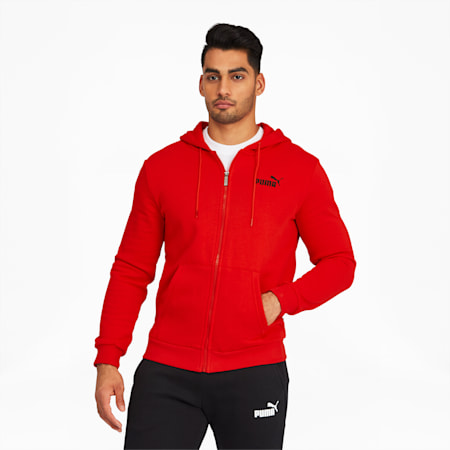 Essentials Men's Hooded Fleece Jacket, High Risk Red, small
