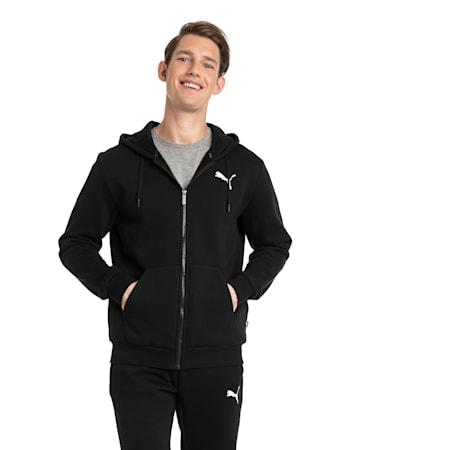 Men's Essentials Full Zip Fleece Hoodie, Puma Black-Cat, small-GBR