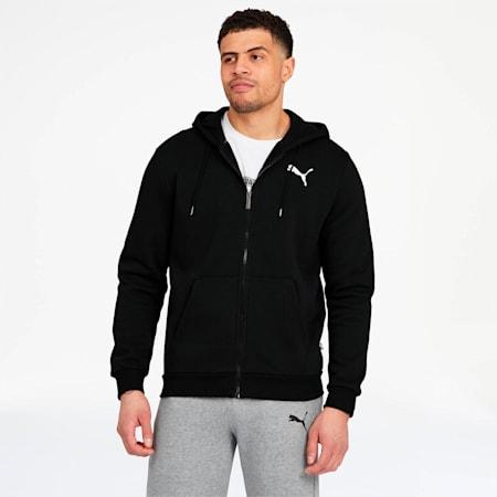 Essentials Men's Hooded Fleece Jacket, Puma Black-Cat, small