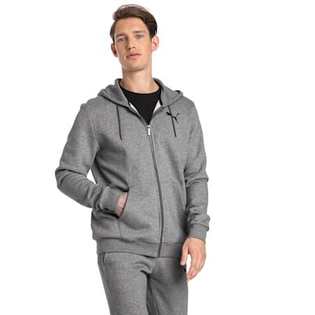 Men's Essentials Full Zip Fleece Hoodie, Medium Gray Heather-Cat, small-GBR