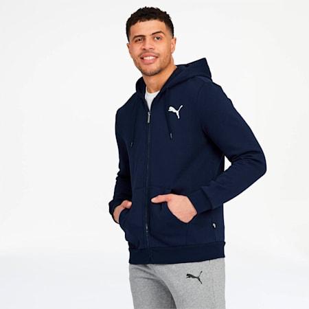Essentials Men's Hooded Fleece Jacket, Peacoat-Cat, small