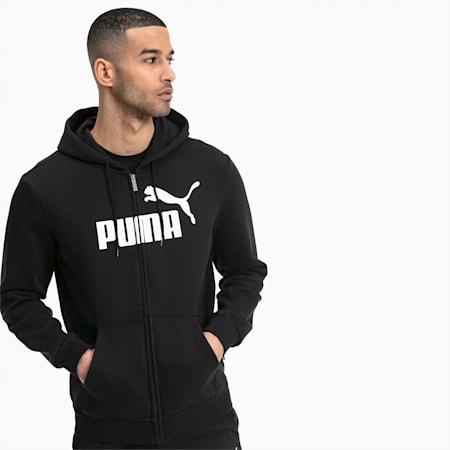 Essentials Fleece Hooded Full Zip Men's Sweat Jacket, Puma Black, small