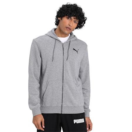 Essentials Hooded Jacket, Medium Gray Heather-Cat, small-IND