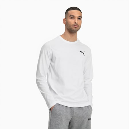 Essentials Long Sleeve Men's Tee, Puma White-_Cat, small