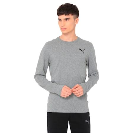 Essentials Long Sleeve Men's T-Shirt, Medium Gray Heather-_Cat, small-IND