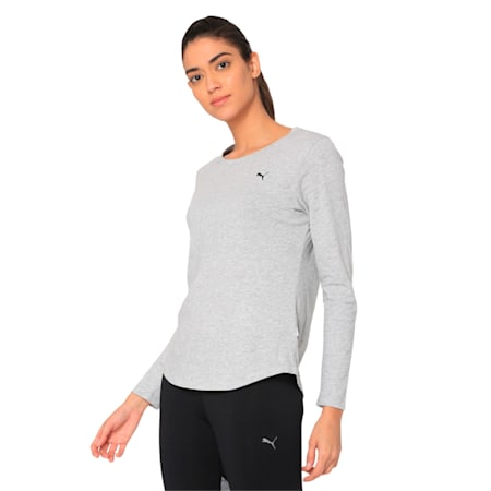 Essentials Long Sleeve Women's Tee, Light Gray Heather-Cat, small-SEA