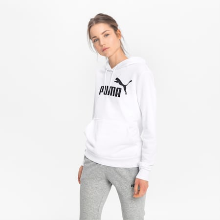 Essentials Women's Logo Hoodie, Puma White, small