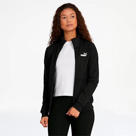 Essentials Women's Fleece Track Jacket, Cotton Black, small