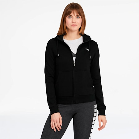 Essentials Women's Hooded Jacket, Cotton Black-Cat, small