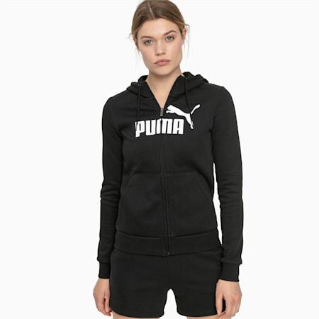 Essentials Fleece Hooded Full Zip Women's Sweat Jacket, Cotton Black, small-GBR