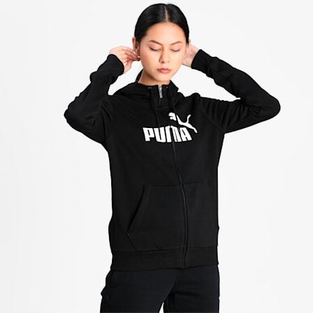 Essentials Fleece Hooded Full Zip Women's Sweat Jacket, Cotton Black, small-IND