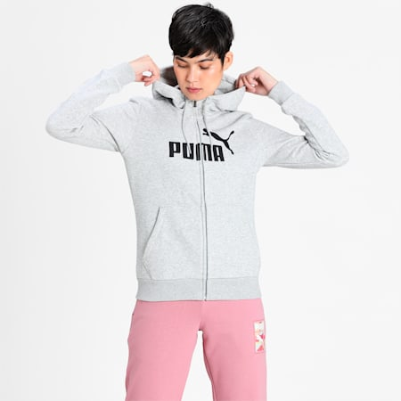 Essentials Fleece Hooded Full Zip Women's Sweat Jacket, Light Gray Heather, small-IND
