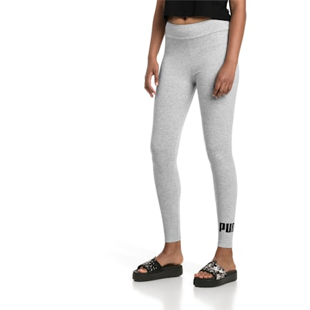Damen Essentials Logo Leggings, Light Gray Heather, small